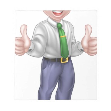 Professional Business Happy Cartoon Thumbs Up Man Notepad