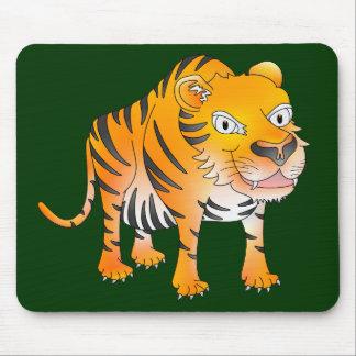 Happy cartoon tiger mouse pad