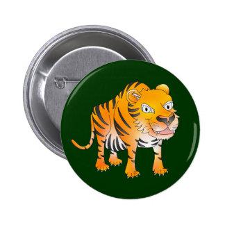 Happy cartoon tiger pinback button