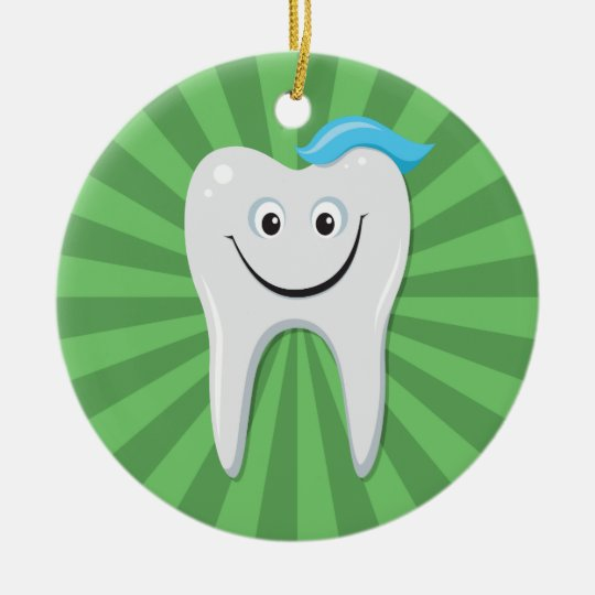Happy cartoon tooth on a green background ceramic ornament