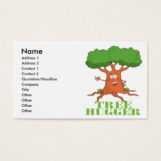 happy cartoon tree TREE HUGGER Business Card