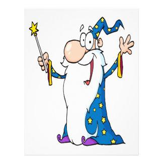 happy cartoon wizard character flyer