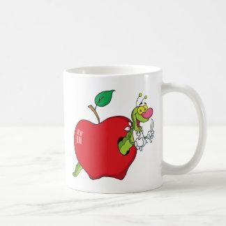 Happy Cartoon Worm In Apple Coffee Mug