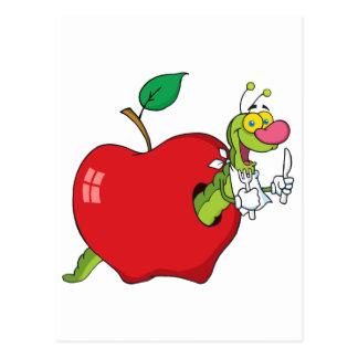 Happy Cartoon Worm In Apple Postcard