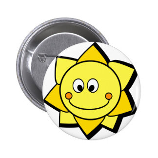 Happy Cartoon Yellow and Orange Sun Button