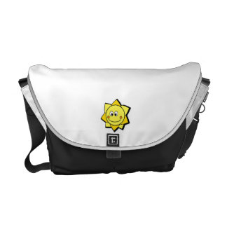 Happy Cartoon Yellow and Orange Sun Courier Bag