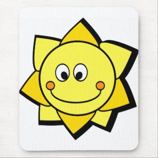 Happy Cartoon Yellow and Orange Sun Mouse Pad