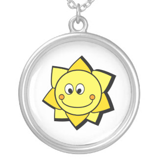 Happy Cartoon Yellow and Orange Sun Round Pendant Necklace