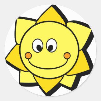 Happy Cartoon Yellow and Orange Sun Round Sticker
