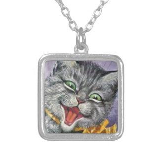 HAPPY CAT,  Arthur Thiele Cat Design Silver Plated Necklace