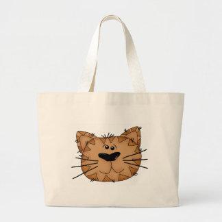 Happy Cat Cartoon Face Artwork Tote Bag