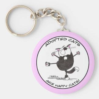 Happy Cat Dance Basic Round Button Keychain