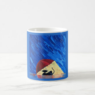 happy cat dry under an umbrella coffee mug