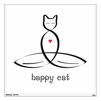 Happy Cat - Fancy style text. Wall Decal