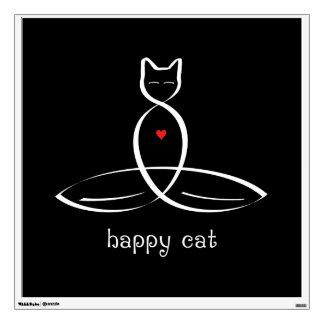Happy Cat - Fancy style text. Wall Sticker