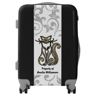 Happy Cat Gray Floral Personalized Luggage