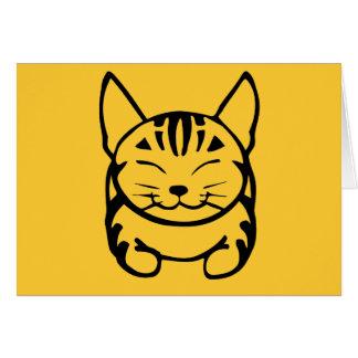 Happy Cat Greeting Card (black on yellow)