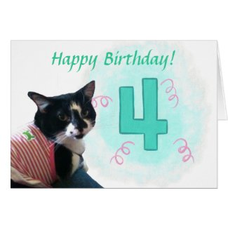 Happy Cat Number Four Ribbons Birthday Card