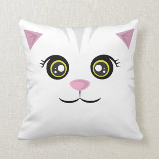 Happy Cat Pillow - Gray Stripes