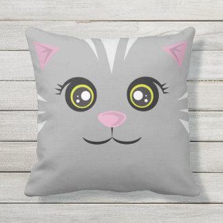 Happy Cat Pillow - Gray Tabby