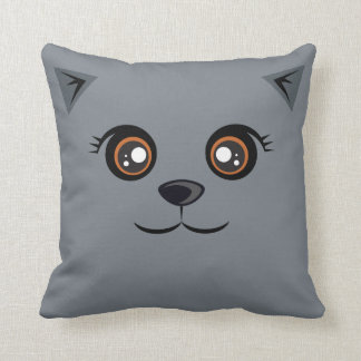 Happy Cat Pillow - Prussian Blue