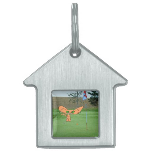 Happy Cat Plays Golf Pet Name Tags