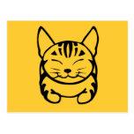 Happy Cat Post Card (black on yellow)