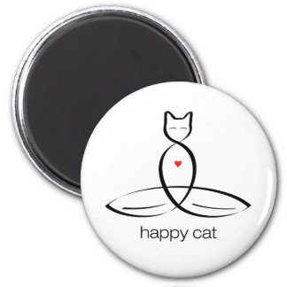 Happy Cat - Regular style text. 2 Inch Round Magnet