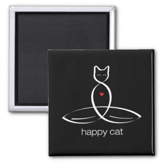 Happy Cat - Regular style text. 2 Inch Square Magnet