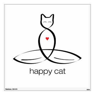 Happy Cat - Regular style text. Wall Sticker