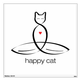 Happy Cat - Regular style text. Wall Graphic