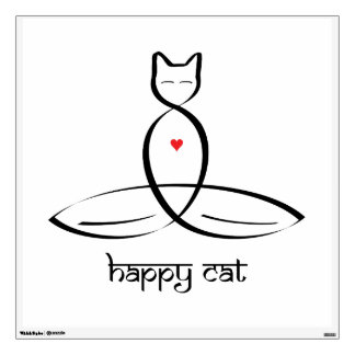 Happy Cat - Sanskrit style text. Wall Decal