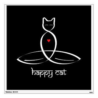 Happy Cat - Sanskrit style text. Wall Sticker