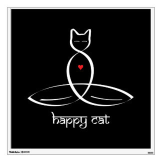 Happy Cat - Sanskrit style text. Room Decals