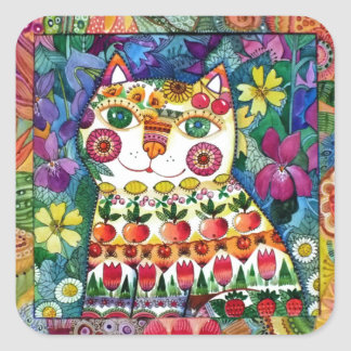 Happy cat square sticker