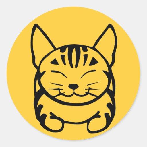 Happy Cat Sticker (black on yellow)