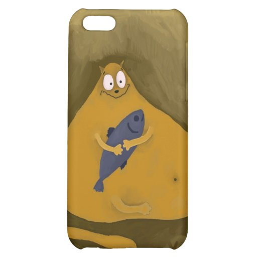 Happy Cat with Fish Cover For iPhone 5C
