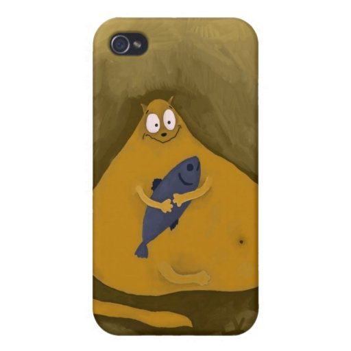 Happy Cat with Fish Covers For iPhone 4