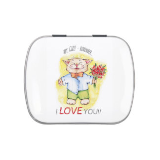 happy cat with flowers illustration candy tin