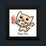 """Happy Cat With Ice Cream Gift Box<br><div class=""""desc"""">Happy cat with ice cream. Perfect for anyone who loves animals and cats. Can be a cute gift. Easily change the words (birthdays,  celebrations,  occasions,  picnics,  parties etc),  names or background color if you want. Matching items available in collection.</div>"""
