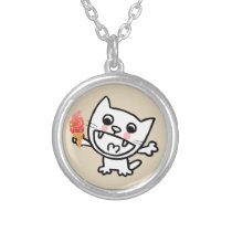 Happy Cat With Ice Cream Silver Plated Necklace