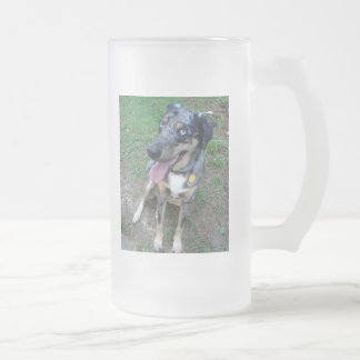 Happy Catahoula Leopard Dog 16 Oz Frosted Glass Beer Mug