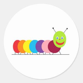 Happy Caterpillar Classic Round Sticker