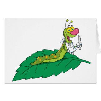 Happy  Caterpillar On A Leaf Card