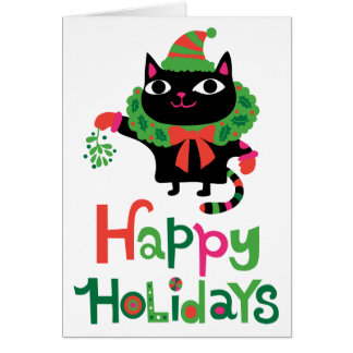 Happy Catiday Holiday Greeting Cards