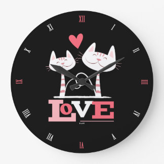 Happy Cats in Love with Roman Numerals Large Clock