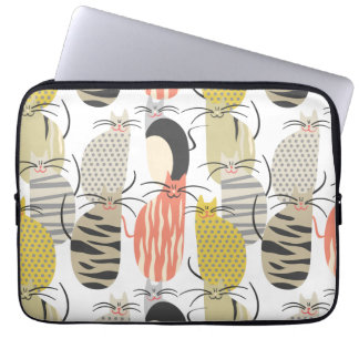 Happy Cats Whimsical Pattern Laptop Computer Sleeves