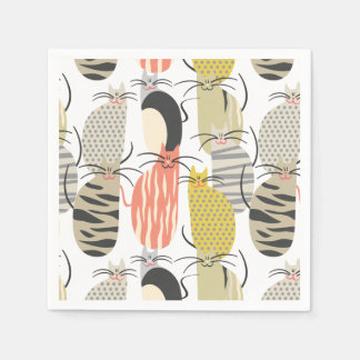 Happy Cats Whimsical Pattern Paper Napkin