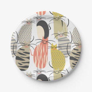 Happy Cats Whimsical Pattern Paper Plate