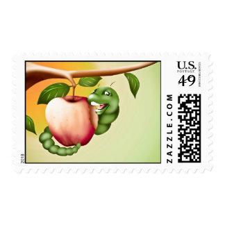 Happy Catterpillar Postage Stamp